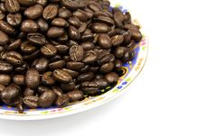 Coffe Beans With Plate Isolated On White Stock Photos
