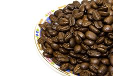 Coffe Beans With Plate Isolated On White Royalty Free Stock Photo