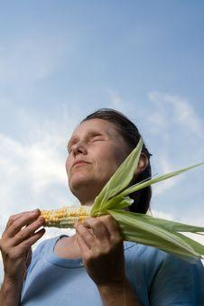 Free Woman With Corncob Stock Image - 5005971