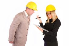 Angry Businesswoman And Architect Stock Photos