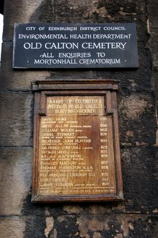 Free Sign On Old Calton Cemetery Royalty Free Stock Photography - 5006857