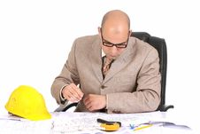 Free Businessman With Architectural Plans Stock Photography - 5008352