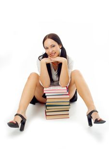 Student Woman With Books Stock Images
