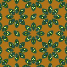 Free Stylized Peacock Feather Seamless Pattern Vector Royalty Free Stock Image - 50089916