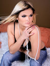 Free Beautiful Blonde With Pearls Royalty Free Stock Photography - 5014417