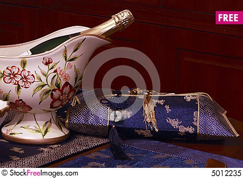 Free Champagne And Ornament. Royalty Free Stock Photo - 5012235