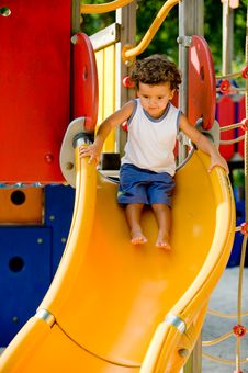 Free Playing On Slide Royalty Free Stock Images - 5010049