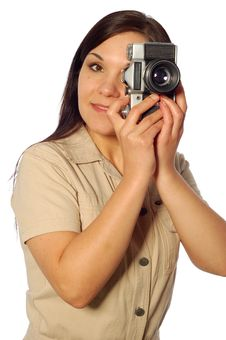 Free Woman With Old Camera Royalty Free Stock Photo - 5010115