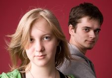Young Girl And The Guy. Stock Photography