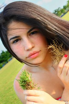 Free Woman With Patches Of Grass Stock Photo - 5014980
