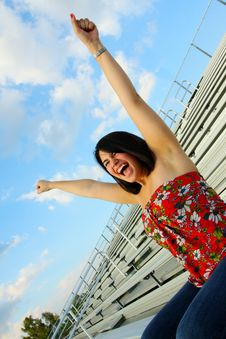 Free Woman Cheering Her Team On Royalty Free Stock Photos - 5015218