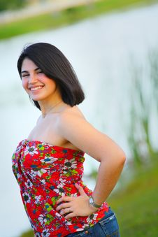 Woman By A Pond Royalty Free Stock Image