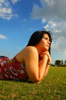 Free Woman Laying On Grass Royalty Free Stock Photos - 5015438