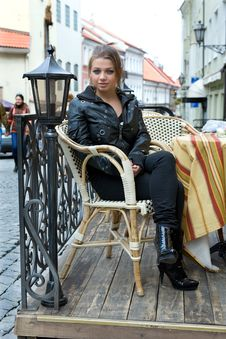 Free Portrait Of The Girl In Street Cafe Royalty Free Stock Photography - 5016297