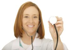 Woman Doctor Checking With Stethoscope Stock Photos
