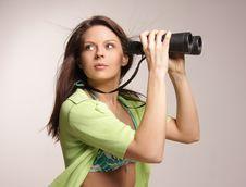 Free Beautiful, Attractive Woman Looking Through Binocu Royalty Free Stock Photo - 5018615