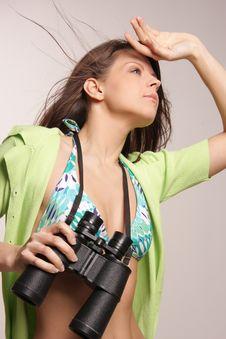 Free Beautiful, Attractive Woman Looking Through Binocu Stock Images - 5018684