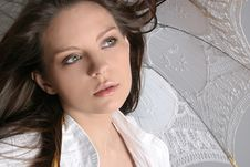 Free Young Brunette Girl With Umbrella In White Royalty Free Stock Photos - 5019348
