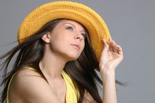 Free Beautiful Sexy Woman In Yellow Hat Royalty Free Stock Photography - 5019407