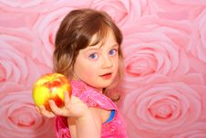 The Child S Great Apple. Stock Photo