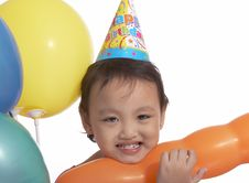 Free Happy Child With Party Hat Royalty Free Stock Photography - 5019627