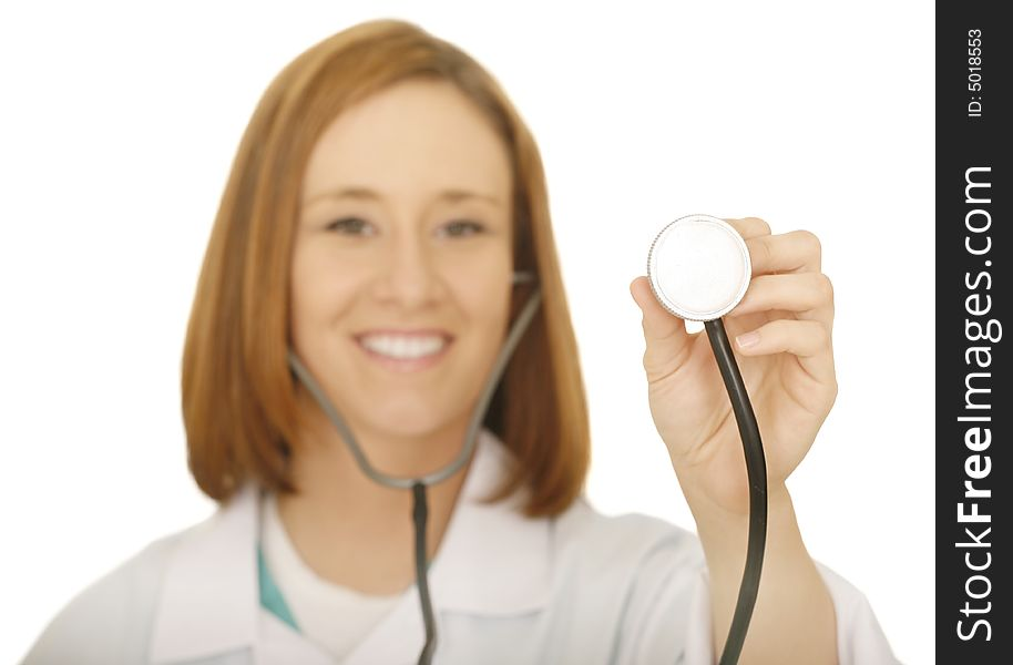 Woman Doctor Checking With Stethoscope