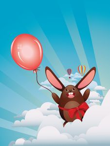 Free Chocolate Bunny With Balloon Royalty Free Stock Images - 50133229