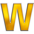 Free Isolated Letter W In Shiny Gold Royalty Free Stock Image - 5021676