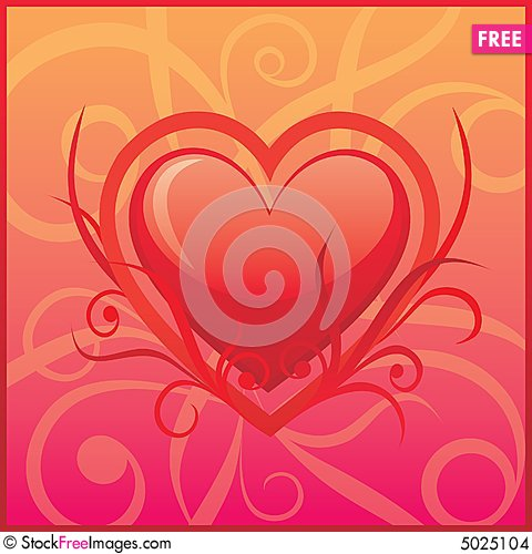 Free Vector Heart On The Floral Background Stock Images - 5025104