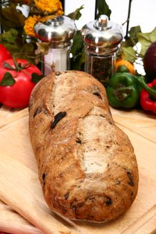 Olive Bread Loaf In Kitchen Stock Images