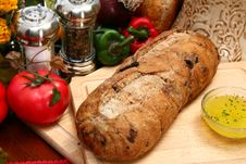 Olive Bread Loaf In Kitchen Stock Image