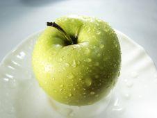 Fresh Green Apple On White 3 Stock Photos