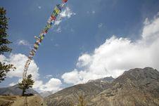 Buddhist Praying Flags, Annapurna Stock Photography