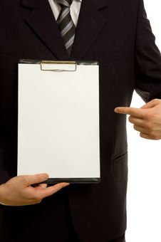 Free Businessman Is Holding A Clipboard Stock Image - 5022601