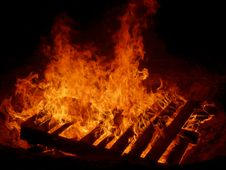 Free Wood On Fire Stock Image - 5022831