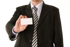 Free Businessman Holding Blank Business Card Royalty Free Stock Photo - 5022855