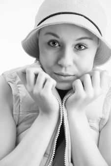 Free Young Girl And Her Hat Royalty Free Stock Photos - 5023068