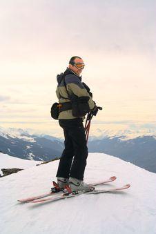 Free Skier On Peak Of The Mountain Royalty Free Stock Photo - 5023955