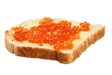 Free Red Caviar On Brown Sliced Bread With Butter Royalty Free Stock Image - 5024716