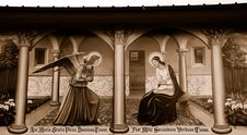 Religious Mural On Wall In Sepia Royalty Free Stock Image