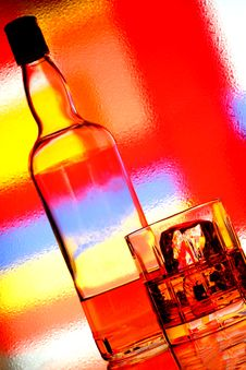 Free Whiskey Bottle & Glass Abstract Royalty Free Stock Photo - 5028355