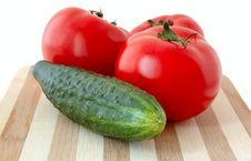 Vegetables On Cutting Board. Royalty Free Stock Photos