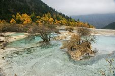 China Huanglong Calcification Pool Of Sichuan Stock Photo