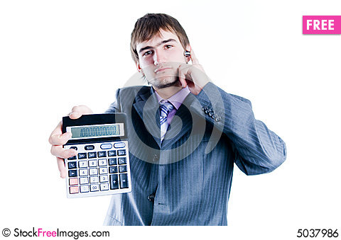Free Businessman Showing Calculator With 1000+ Royalty Free Stock Image - 5037986