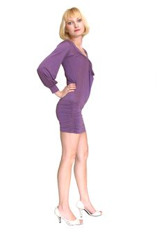 Free Standing Blond Lady In Purple Dress 13. Stock Images - 5031274