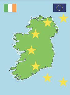 Ireland Map & EU Flag Royalty Free Stock Images
