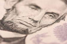 Macro Of Five Dollar Bill S Lincoln Stock Photo