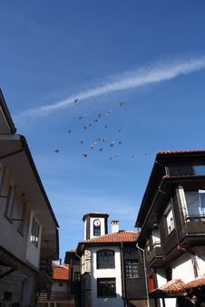 Free Pigeons Flight Over Old Town Stock Photo - 5036250