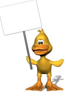 Free Duckling Holding Blank Sign Royalty Free Stock Photography - 5036277