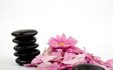 Free Stack Of Black Stones And Flower Royalty Free Stock Image - 5037236